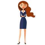 Ernstes nettes Geschäftsmädchen Fokussierte Karikaturvektorillustration der Geschäftsfrau flache Stockfotografie