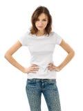 Ernstig brunette met leeg wit overhemd Stock Fotografie