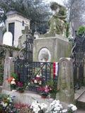 Ernstig de steenmonument van Frederick Chopin in de Begraafplaats van Père Lachaise, Parijs stock afbeelding