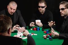 Ernstig kaartspel Stock Foto's