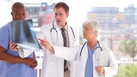 Ernstig medisch team die samen een röntgenstraal bekijken stock footage