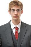 Ernstige en Directe objectieve mens in kostuum Stock Fotografie