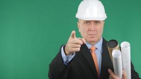 Ernstige en Zekere Ingenieur Image Pointing met Vinger stock foto