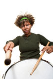 Ernstige Jonge Afrikaanse Percussionist Stock Foto