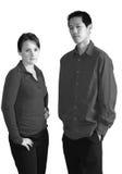 Ernstige jonge mensen; zwart-wit royalty-vrije stock afbeelding