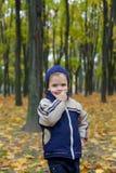 Ernstige jongen in de herfst Royalty-vrije Stock Afbeelding
