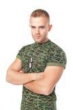 Ernstige legermilitair met militaire identiteitskaart-markeringen Royalty-vrije Stock Afbeelding