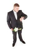 Ernstige mens in een klassiek kostuum Geïsoleerd over wit Royalty-vrije Stock Afbeeldingen