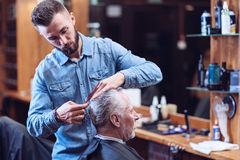 Ernstige professionele kapper die in zijn baan worden geïmpliceerd stock fotografie