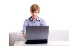 Ernstige redhead tiener stock fotografie