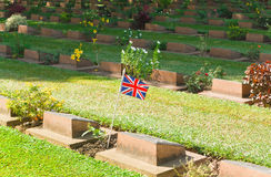 Ernstige Steen bij de Begraafplaats van de Wereldoorlog II, Royalty-vrije Stock Foto