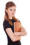 Ernstige student met een blocnote in zijn handen royalty-vrije stock fotografie