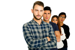 Ernstige studenten met gevouwen wapens Stock Foto