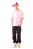 Ernstige tiener in de slijtage van de heuphop Stock Afbeelding