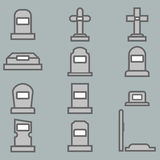 12 ernstige vector geplaatste pictogrammen Stock Afbeelding