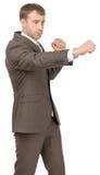 Ernstige zakenman als succesvolle vechter Stock Foto