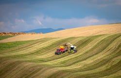 Ernte auf dem landwirtschaftlichen Gebiet Lizenzfreies Stockfoto