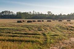 Ernte-Zeit-Landwirt-Feld Hay Bales Lizenzfreie Stockbilder