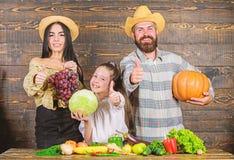 Erntefestkonzept Familienlandwirte mit h?lzernem Hintergrund der Ernte Eltern und Tochter feiern Erntefeiertag stockbilder