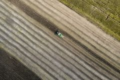 Erntemaschine erntet eine Ernte auf einem Gebiet nahe bei einem grünen Feld mit Mais ukraine Schattenbild des kauernden Geschäfts Lizenzfreies Stockfoto