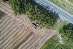 Erntemaschine erntet eine Ernte auf einem Gebiet nahe bei einem grünen Feld mit Mais ukraine Schattenbild des kauernden Geschäfts Lizenzfreie Stockfotos