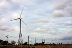 Ernten des Stroms von der Windenergie, Kanyakumari Stockfotos