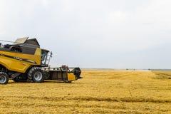 Ernten des Weizens mit einem Mähdrescher Lizenzfreie Stockfotos