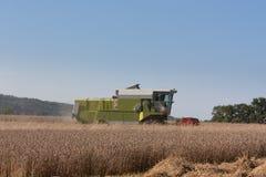 Ernten des Weizens mit einem Mähdrescher Stockfotos