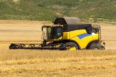 Erntende Maschine oder Erntemaschine kombinieren auf einem Weizenfeld mit einem sehr dynamischen Himmel als Hintergrund Stockfotografie