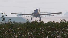Erntestaubtuch-Sprühchemikalien über einem Baumwollfeld - Zeitlupe stock footage