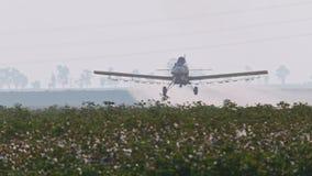 Erntestaubtuch-Sprühchemikalien über einem Baumwollfeld - Zeitlupe stock video