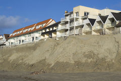 Eroded beach and constructions Royalty Free Stock Image
