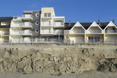 Eroded beach and constructions Royalty Free Stock Photos