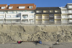 Eroded beach and constructions Royalty Free Stock Photography