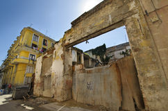 Eroded buildings in Old Havana street Royalty Free Stock Photography