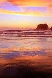 Eroded Cliffs on sunset background . Westport, New Zealand Stock Photos