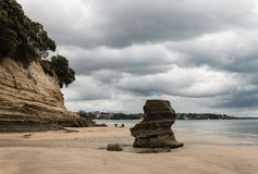 Eroded cliffs on Takapuna beach Royalty Free Stock Image
