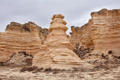 Eroded exposed limestone pillars at Castle Rock royalty free stock images