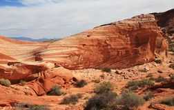 Eroded Fire Wave. Valley of Fire State Park, Nevada royalty free stock photo