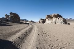 Eroded geological rock formations around Árbol de Piedra, Siloli Desert, Bolivia. South America Royalty Free Stock Image