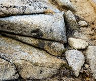 Eroded granite outcrop. An eroded granite outcrop creates little sculptures in Sequoia National Park in California stock photography