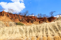 Eroded landscape of red and yellow stone Royalty Free Stock Photos