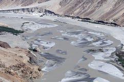 Eroded landscape Shyok river Stock Photos