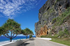 Eroded limestone cliff along coastal road Rurutu Royalty Free Stock Image