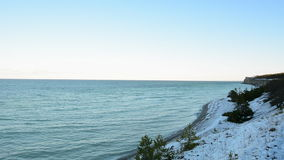Eroded limestone cliff on the coast on the island of Gotland in Sweden stock footage