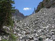 Eroded limestone in the Great Basin National Park. A good example of  eroded scree, or talus, at the base of a limestone mountain in the Great Basin National Stock Photos