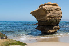 Eroded Lone Rock Formation in La Jolla, California Royalty Free Stock Images