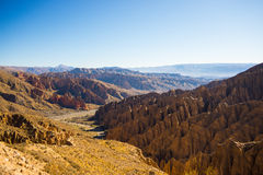 Eroded mountain range around Tupiza, Southern Bolivia. Panoramic view of eroded mountain range and canyons around Tupiza. From here start the outstanding 4 days Stock Images