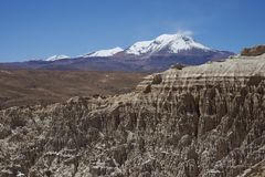 Eroded river valley on the Altiplano of Chile. Eroded rock formations along Quebrada Chuba, a river valley high on the Altiplano of northern Chile in Lauca stock images