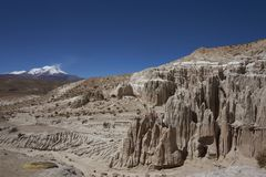 Eroded river valley on the Altiplano of Chile. Eroded rock formations along Quebrada Chuba, a river valley high on the Altiplano of northern Chile in Lauca stock image